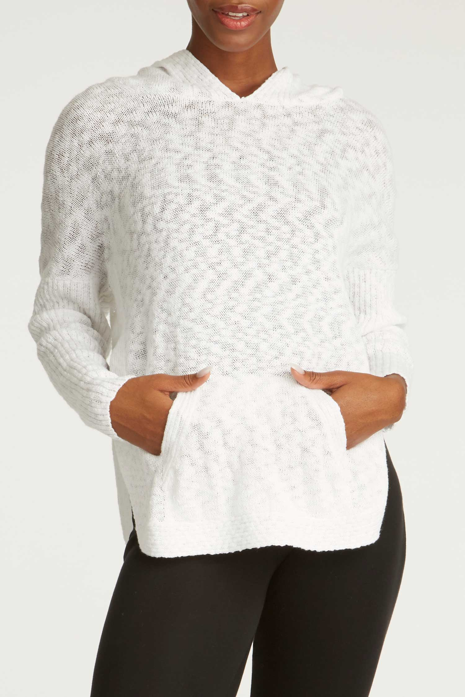 Womens Organic Cotton Sweater | White Oversized Knit Hoodie