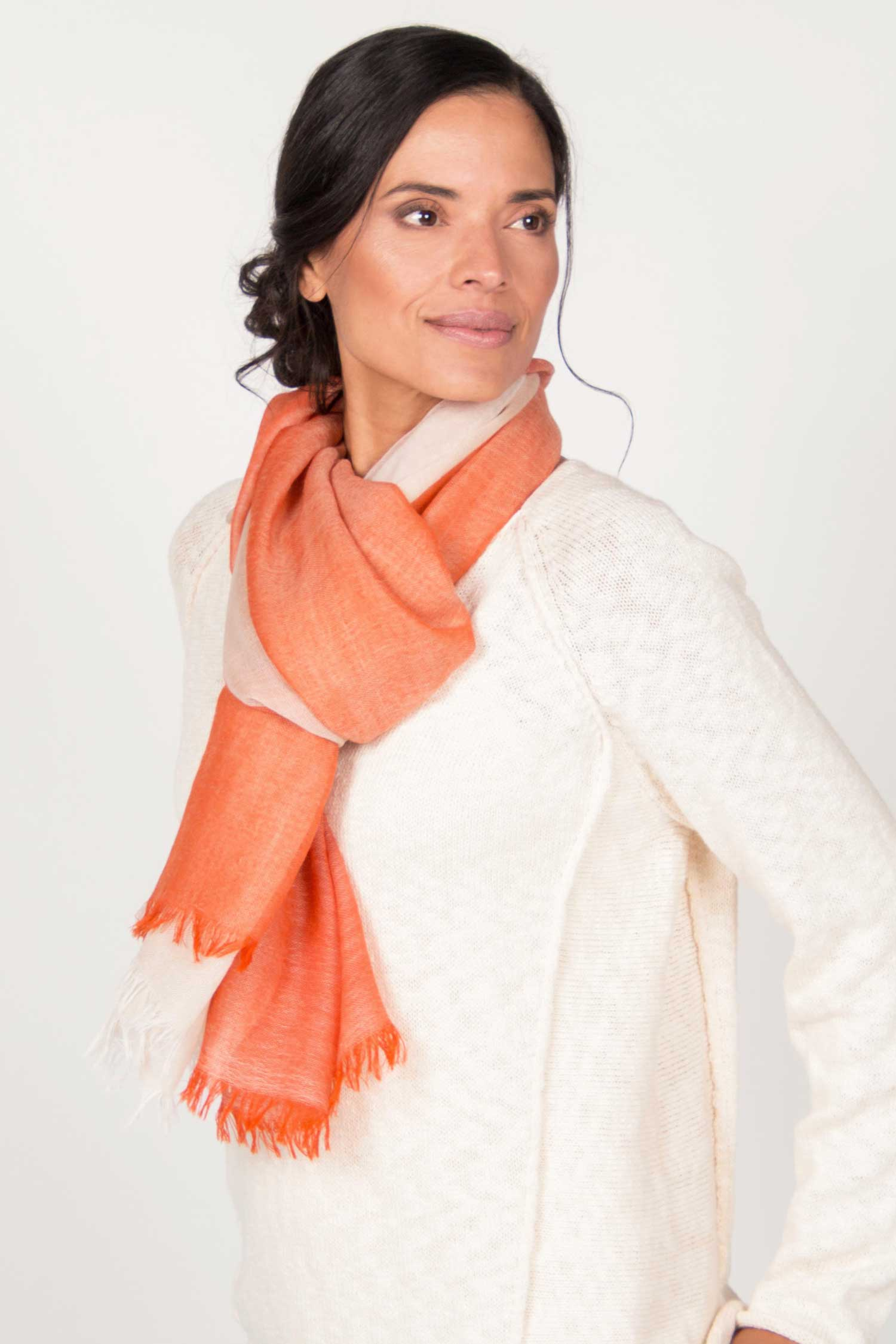 Womens Handloomed Color Block Scarf in Orange and Cream