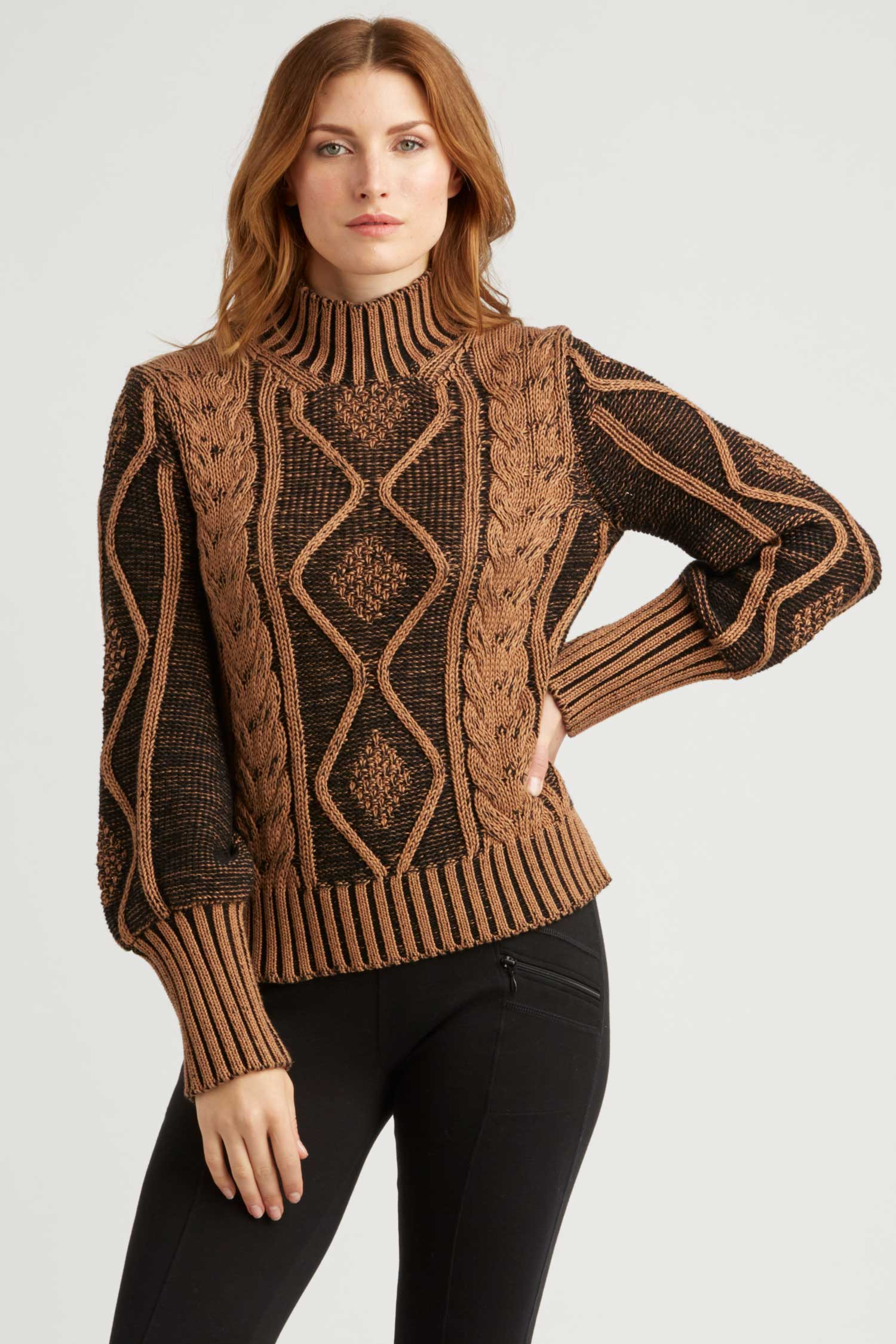 Womens Plated Cable Pullover Organic Cotton Sweater - Brown