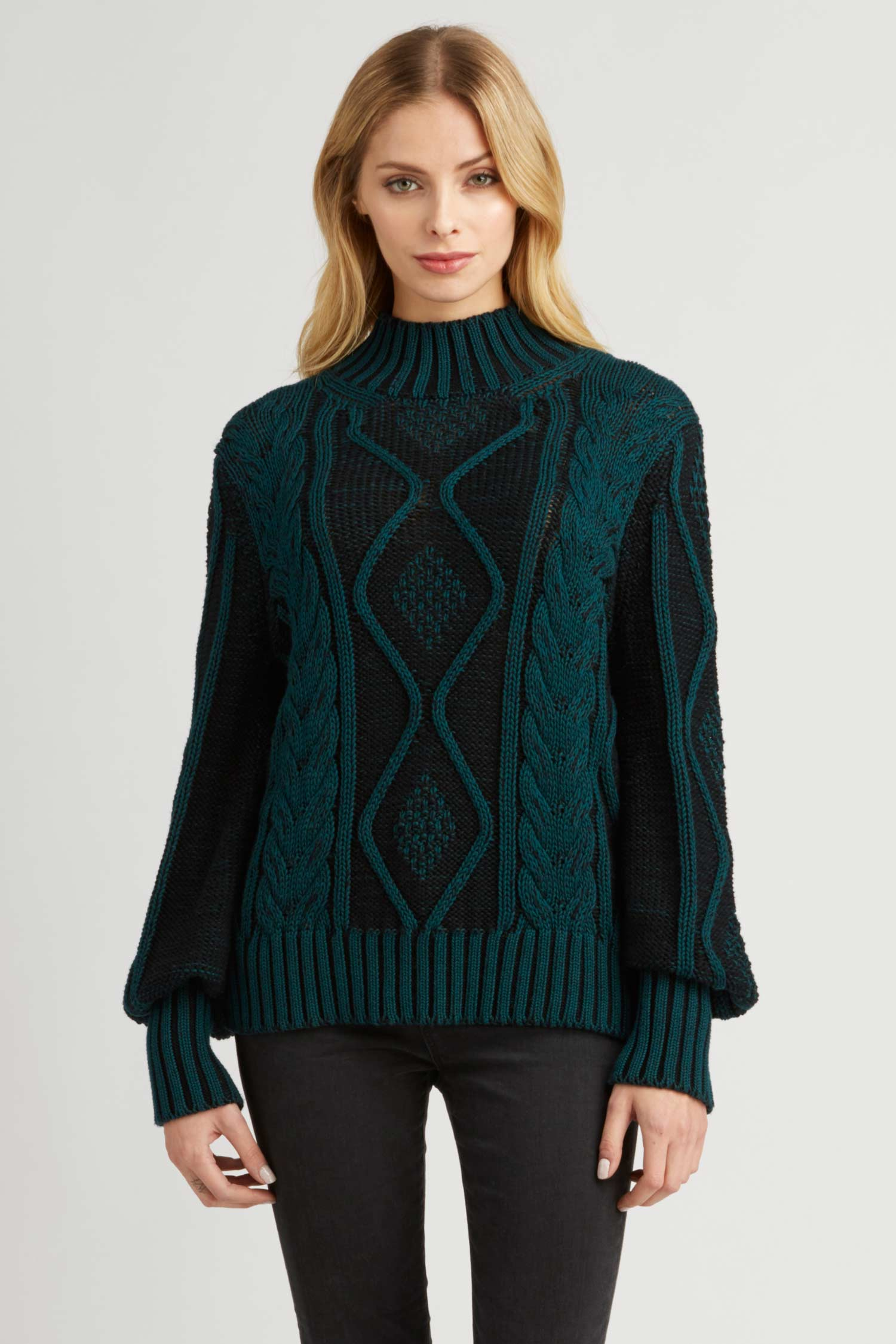 Womens Plated Cable Pullover Organic Cotton Sweater - Teal