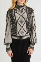 Womens Plated Cable Pullover Organic Cotton Sweater - Black White