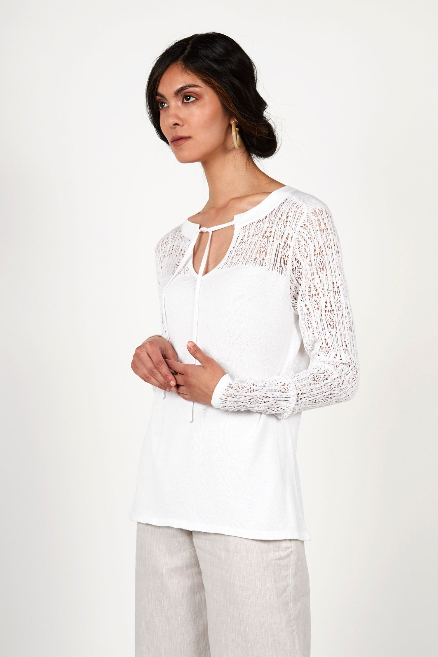 Pointelle Pullover Top - Indigenous