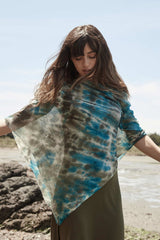 Silk Alpaca Painted Poncho - Indigenous
