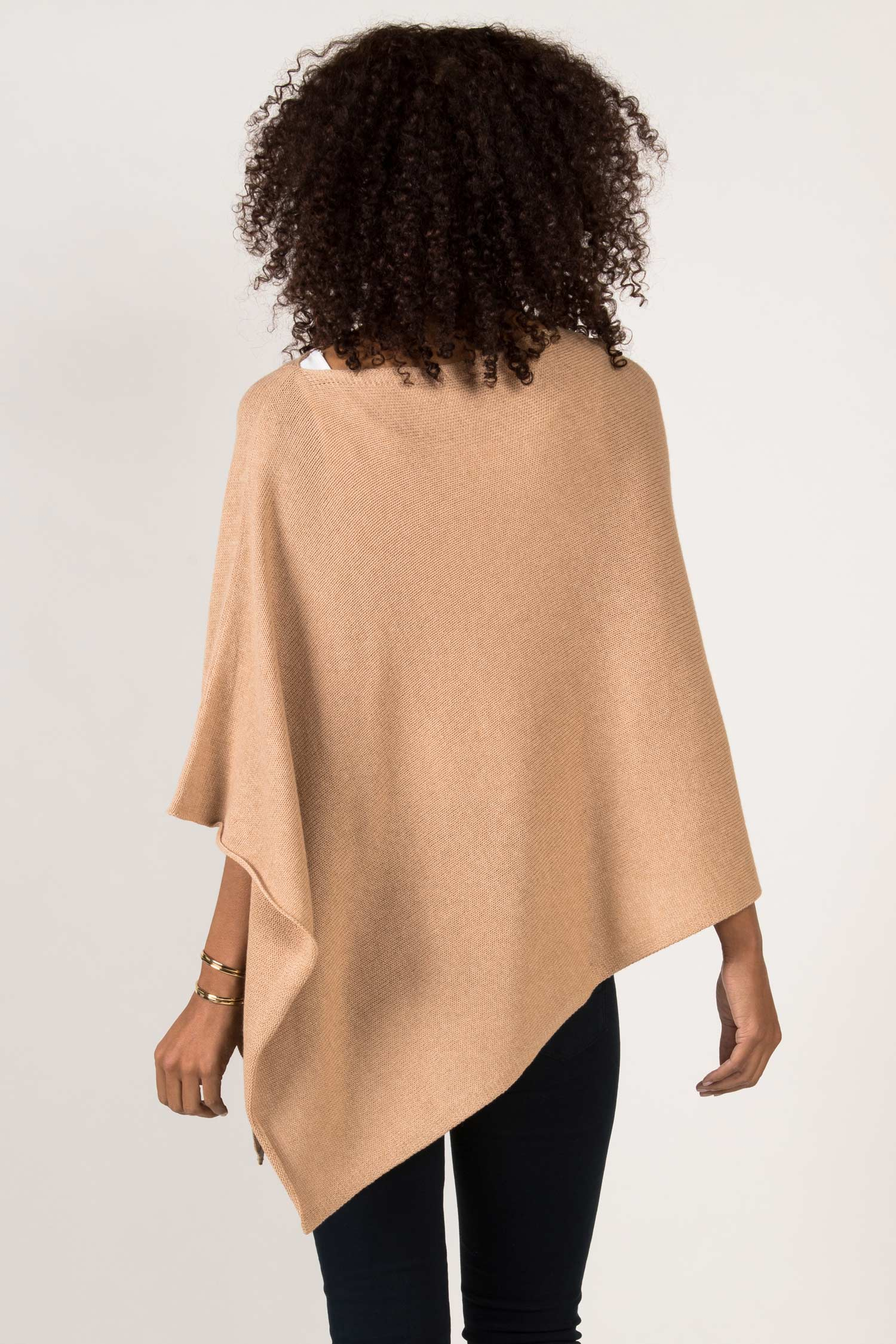 Womens Undyed Organic Cotton Poncho | Knit | Beige