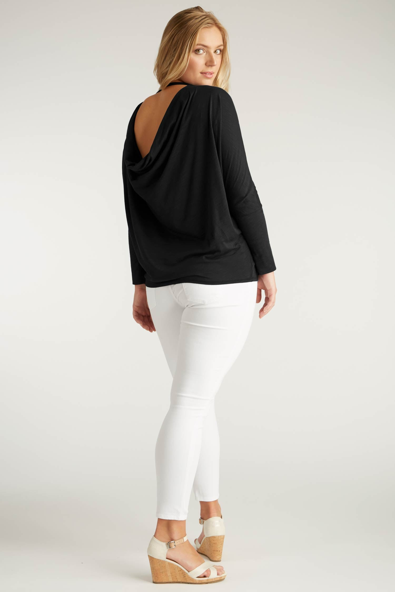 Womens Organic Cotton Top - Reversible Drape Pullover Blouse - Black