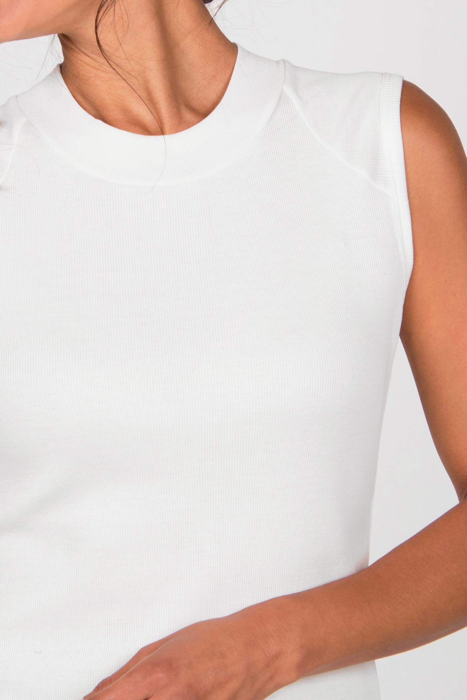 Womens Mock Neck Tank Top white | Organic Cotton Clothing for Women