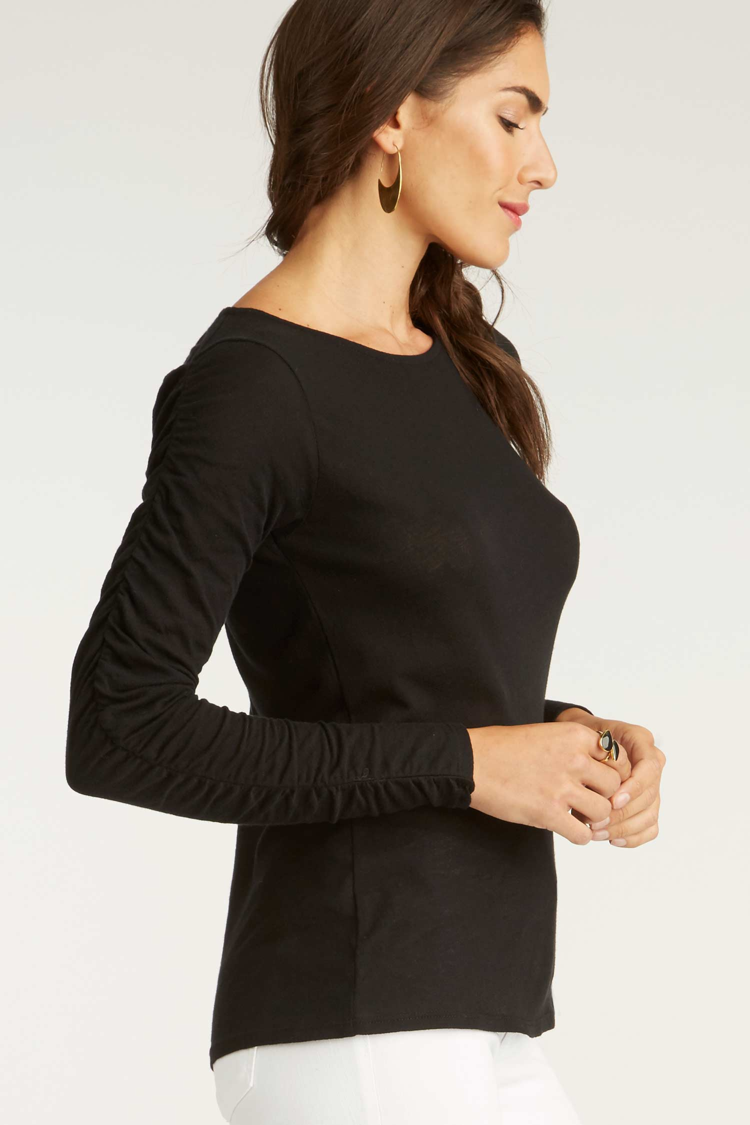 Crepe Ruched Sleeve Crew
