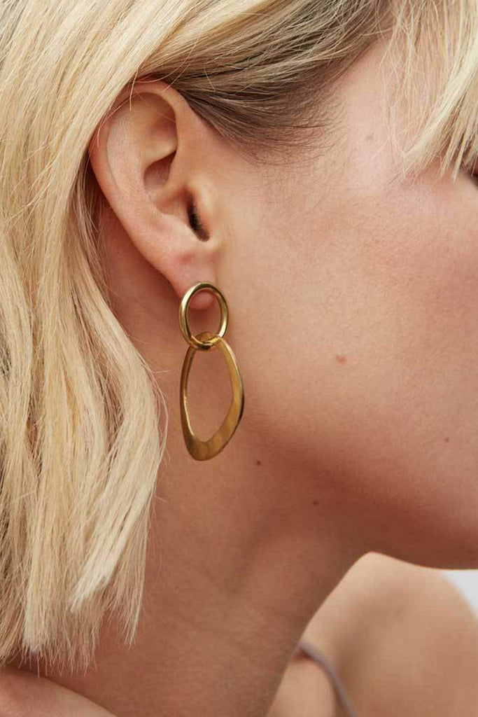 Soko Open Sabi Link Stud Earrings | Brass Earrings | Ethical Jewelry