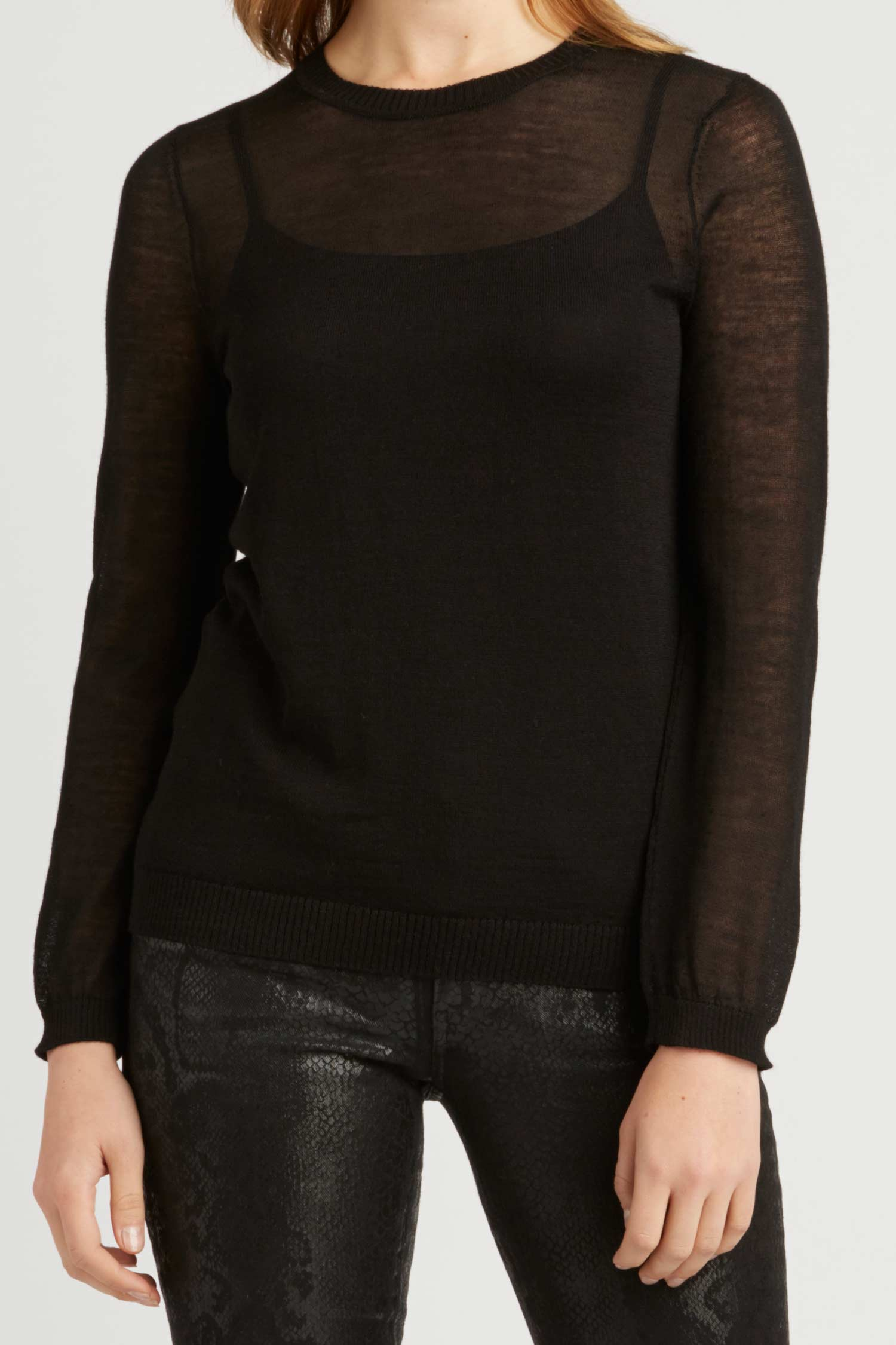 Womens Top - Sheer Alpaca Silk Crew Neck - Black