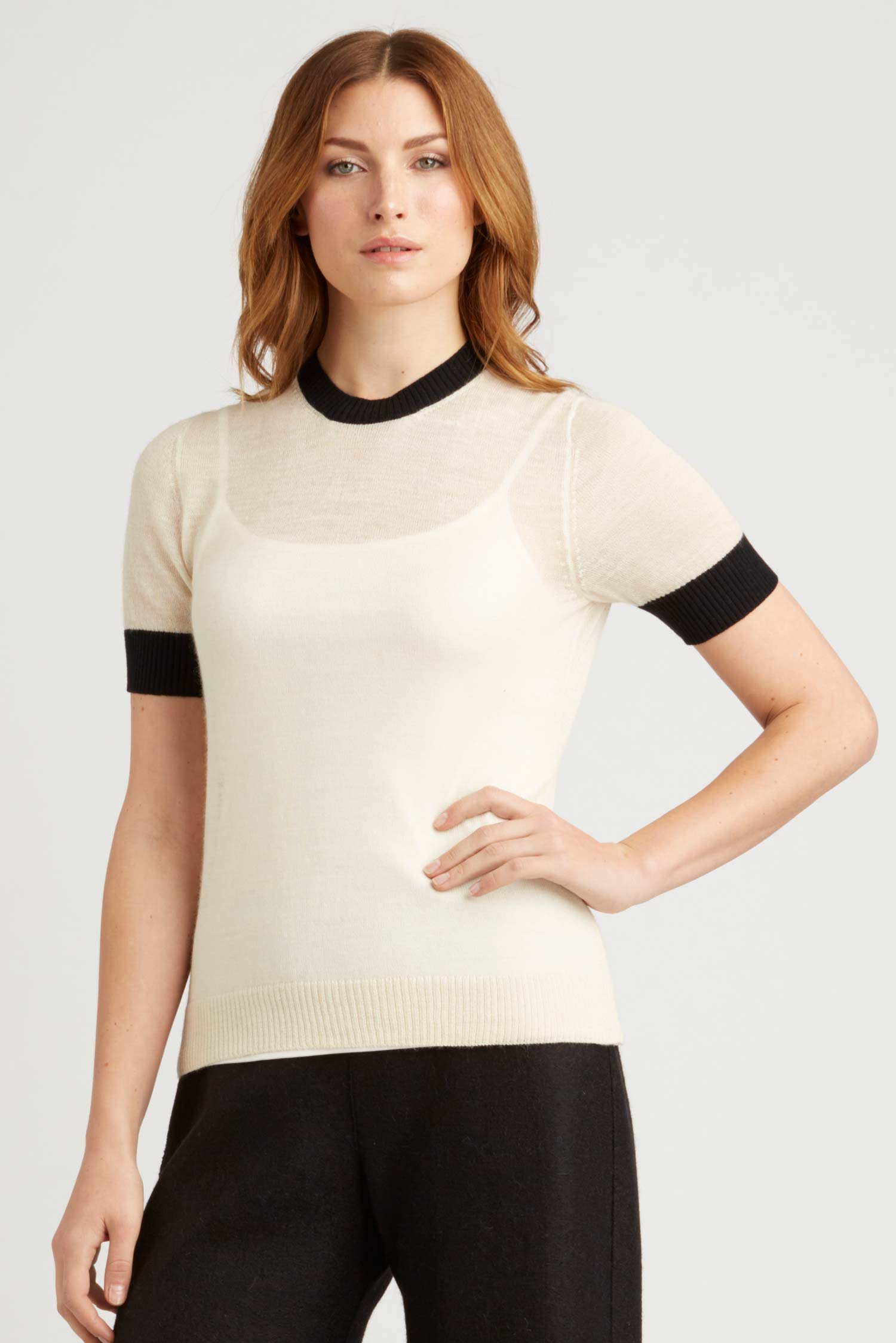 Womens Top | Sheer Alpaca Silk Tee | Ivory Black