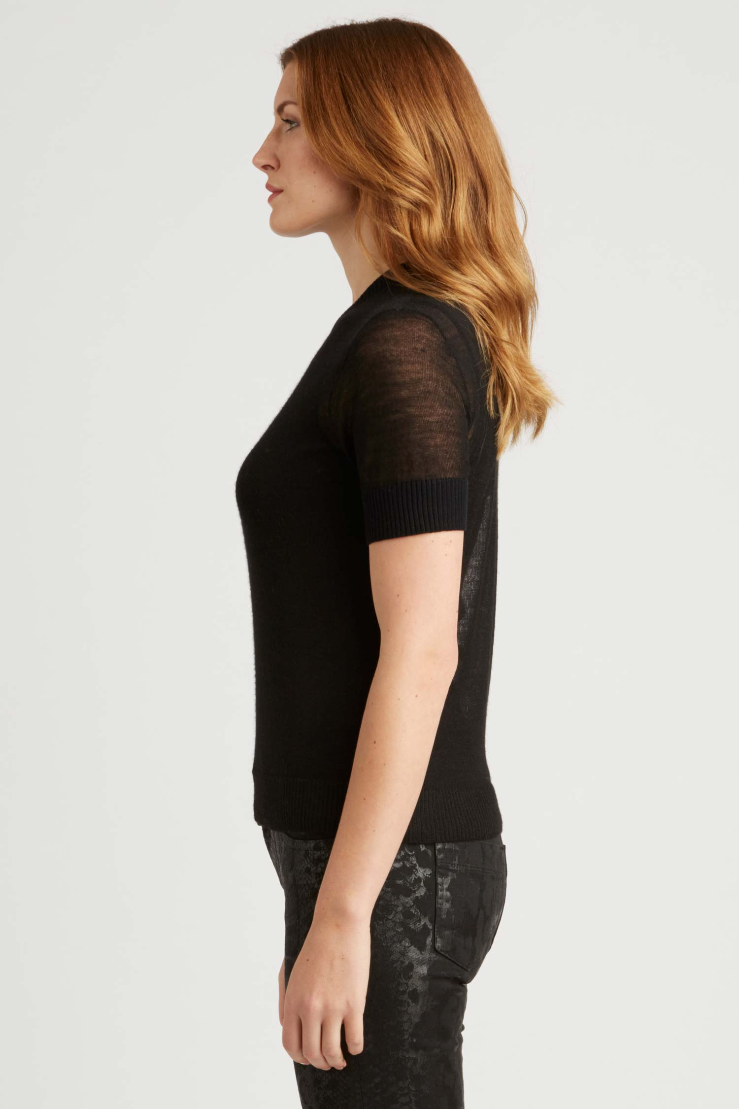 Womens Top | Sheer Alpaca Silk Tee | Black