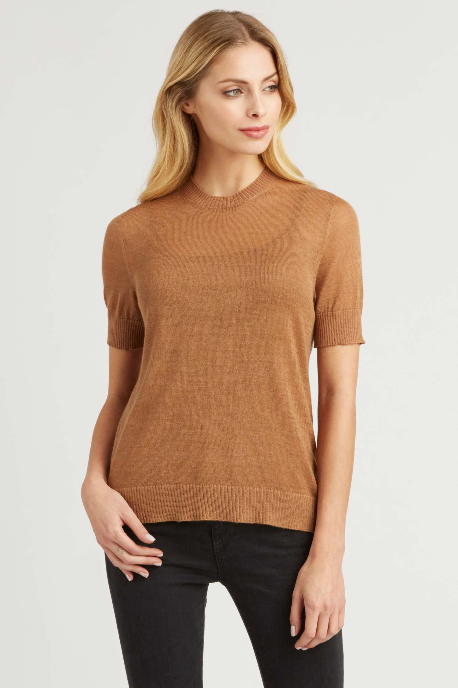 Womens Top | Sheer Alpaca Silk Tee | Camel Brown