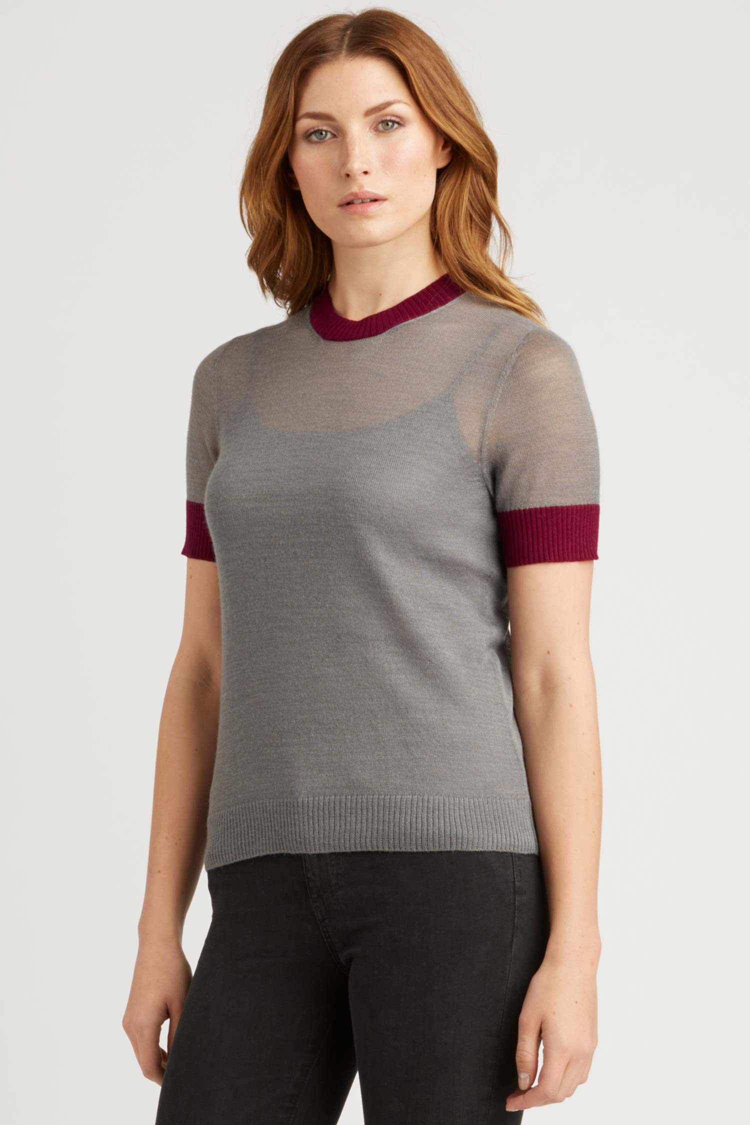 Womens Top | Sheer Alpaca Silk Tee | Gray