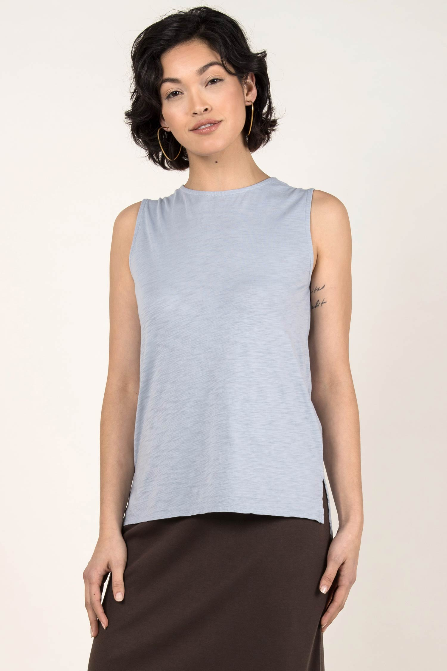 Womens Organic Cotton Tank Top | Essential Slub Shell Blouse | Blue