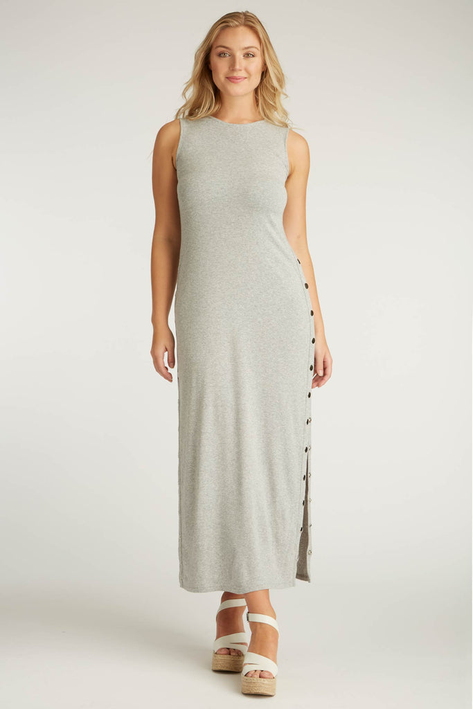 Womens Organic Cotton Dress | Snap Maxi Dress | Silver