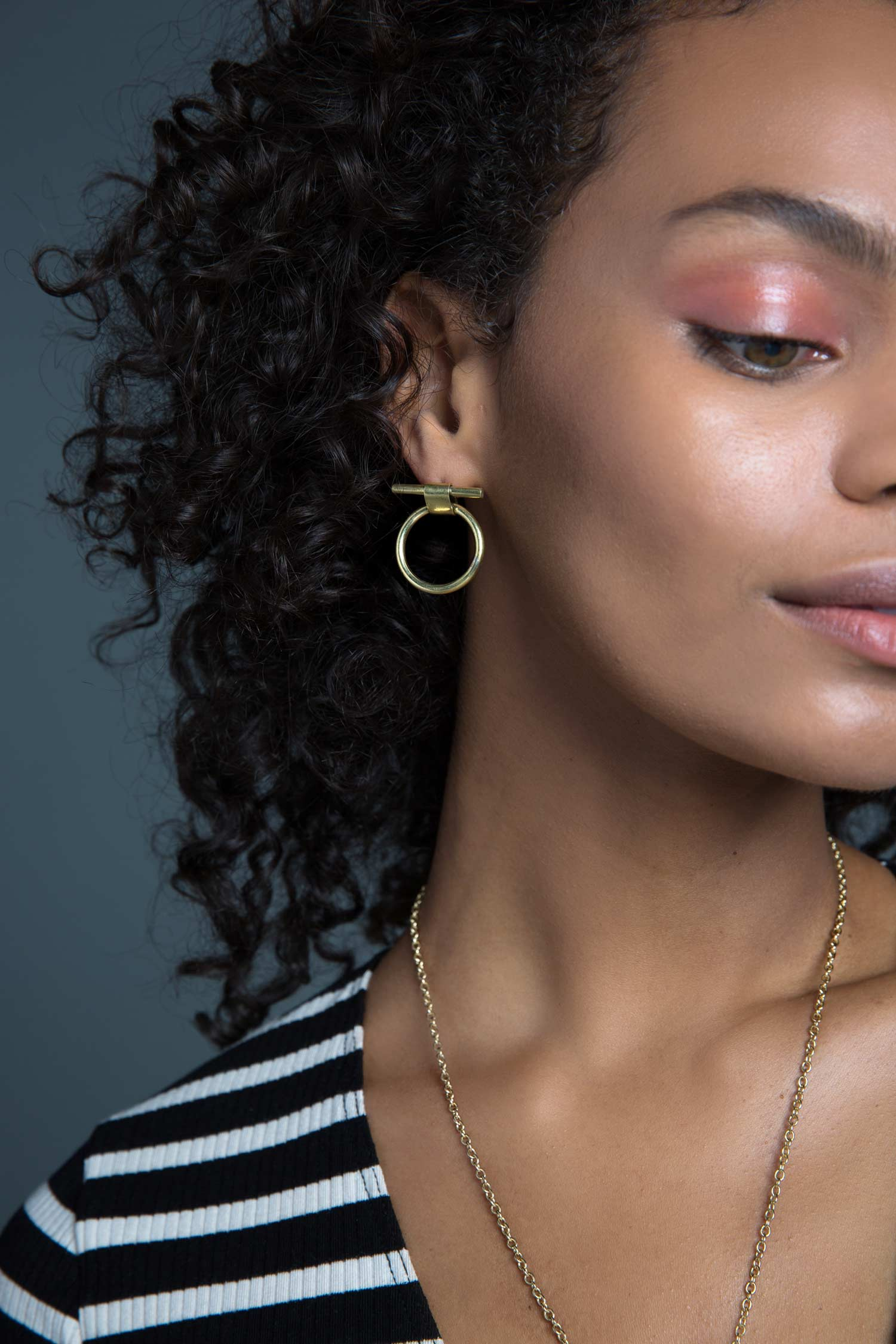 Ethically Made Jewelry | SOKO Isle Stud Earrings in Recycled Brass