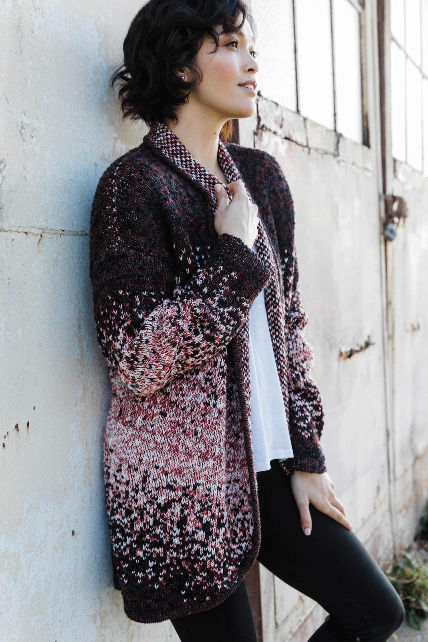 Womens Organic Cotton Sweater | Speckled Open Front Cardigan | Red