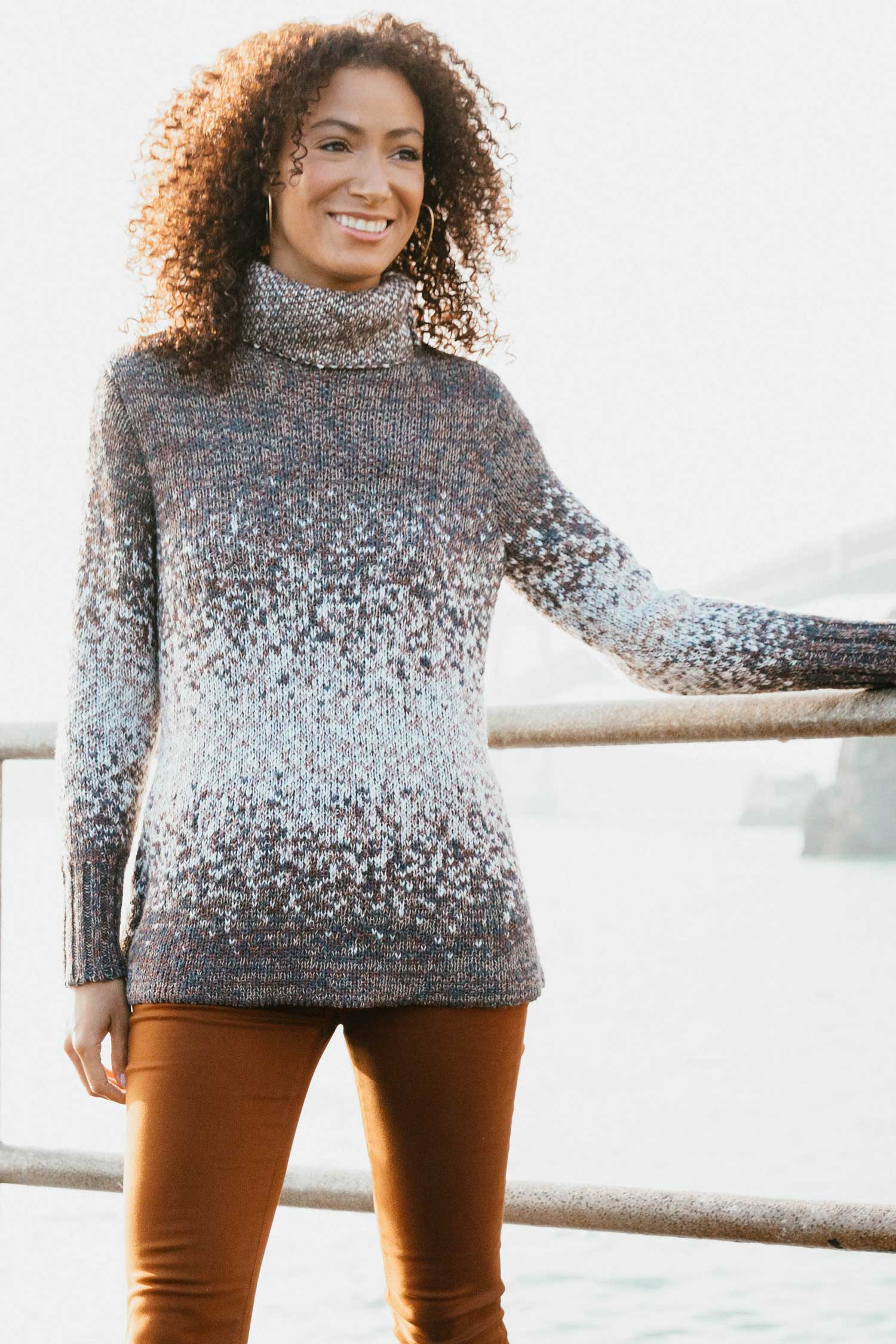 Womens Organic Cotton Sweater | Speckled Funnel Neck Knit Pullover