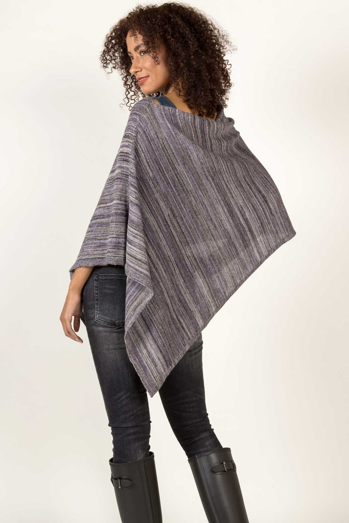 Striped Alpaca Silk Poncho | Lavender Stripe | Indigenous