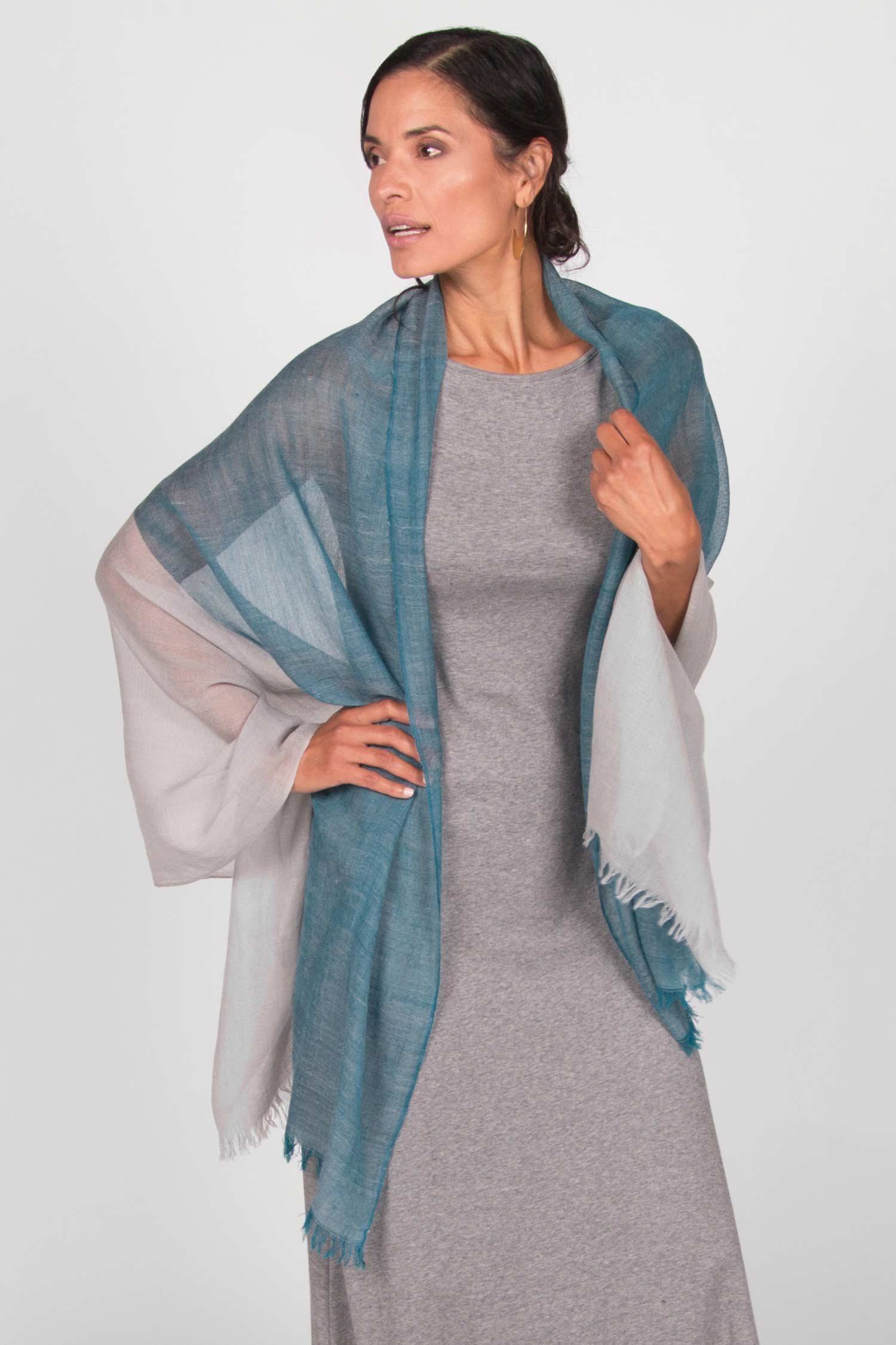 Womens Handloomed Color Block Scarf in Teal and Gray