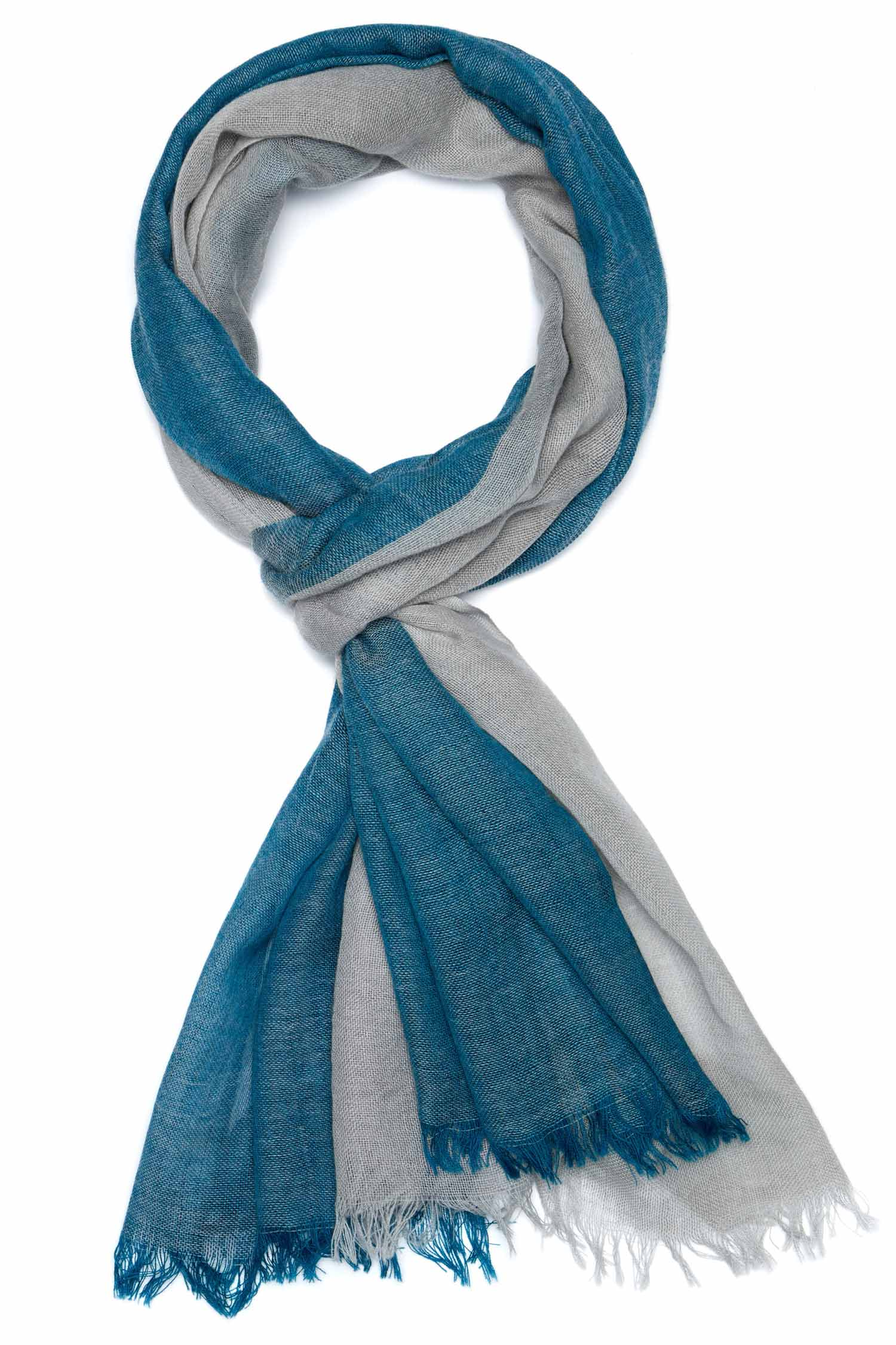 Womens Indigo Handloomed Color Block Scarf in Teal and Gray