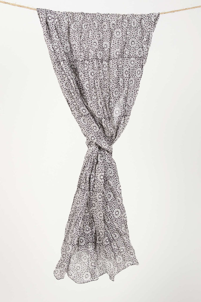 Womens Organic Cotton Wrap Scarf | Tessera Block Print Wraps | Black White
