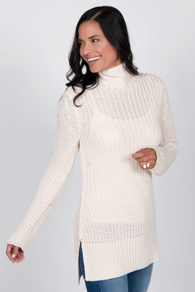 Womens organic cotton knit sweater | undyed sustainable fashion sweaters | ivory