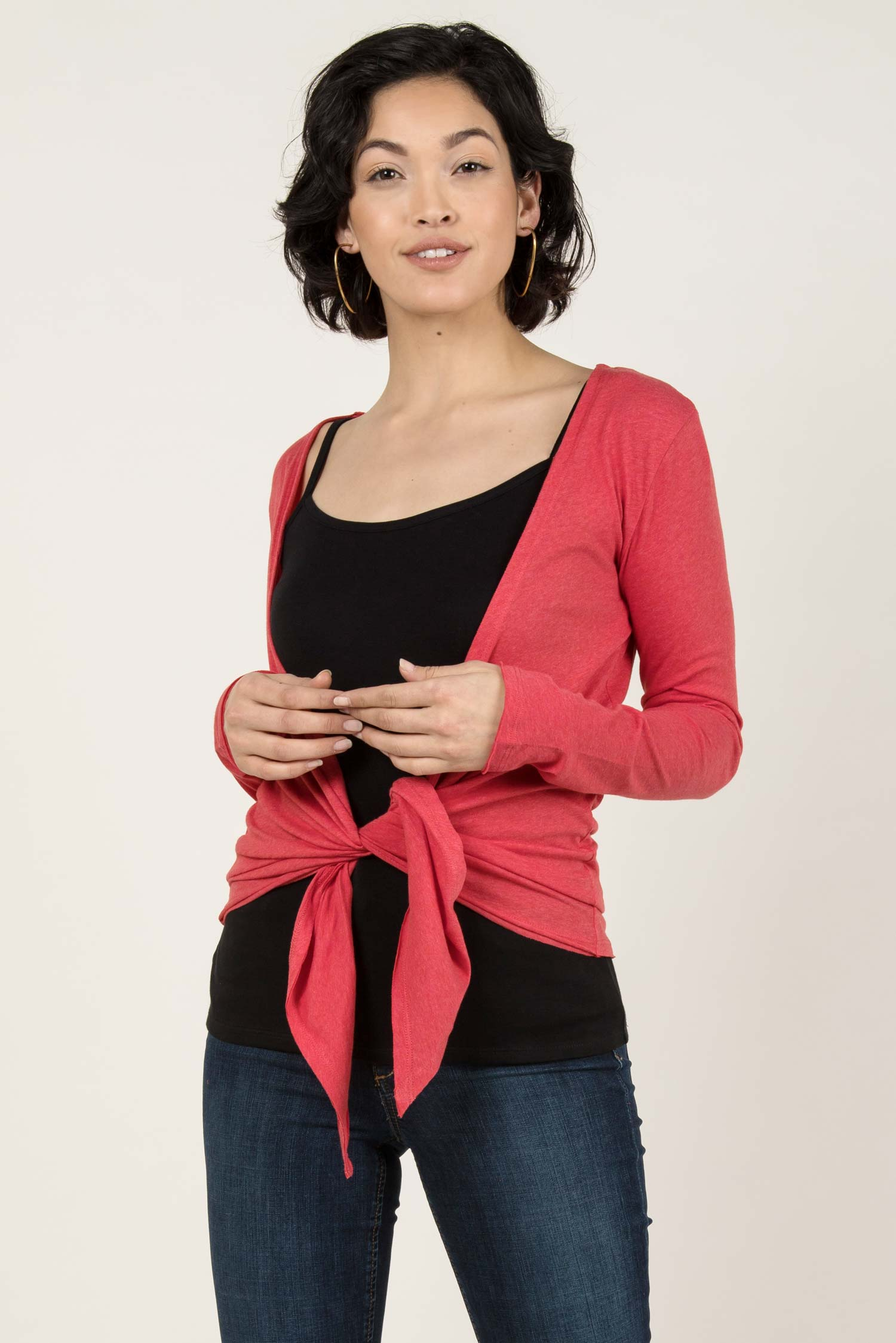 Womens Organic Cotton Cardigan | Coral Red | Indigenous