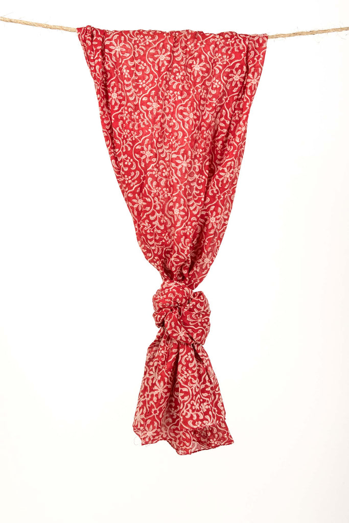 Womens Organic Cotton Scarf | Red Trellis Block Print Scarf