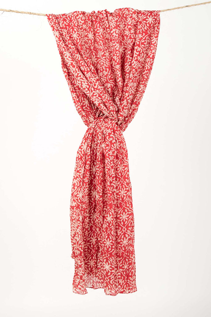 Womens Organic Cotton Wrap | Red Trellis Block Print Wrap