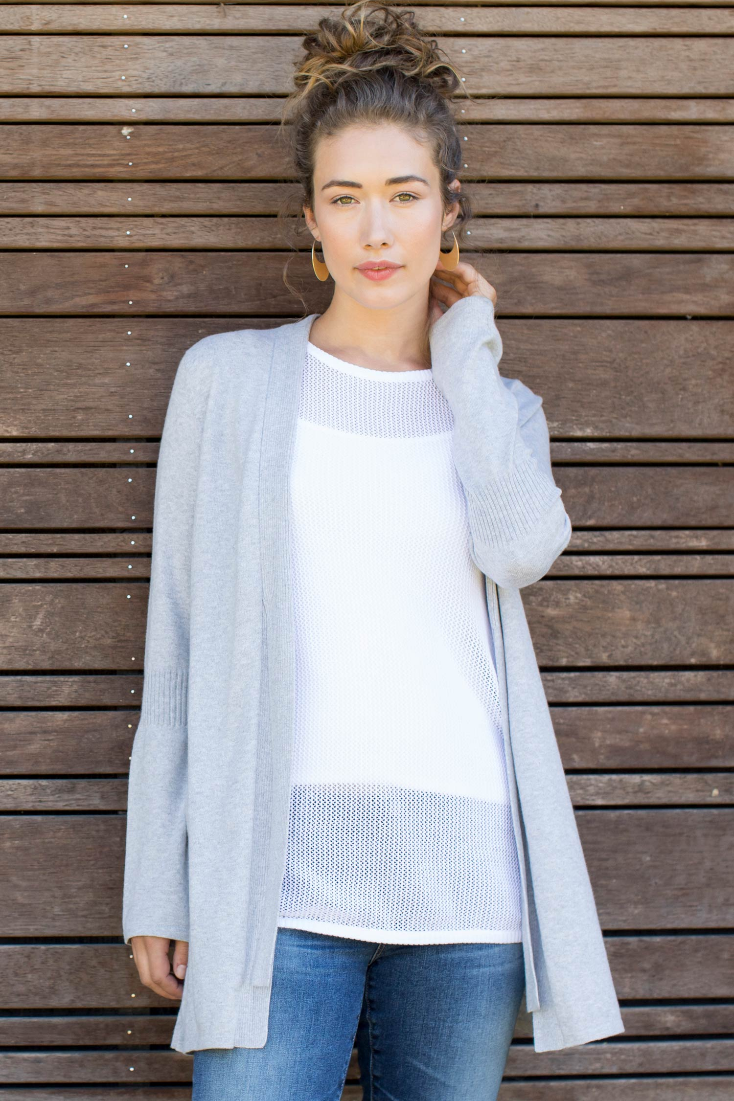 Womens Organic Cotton Sweater | Tubular Cardigan in Gray by Indigenous