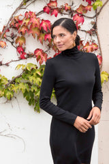 Womens Turtleneck Dress in Black | Sustainable Fashion
