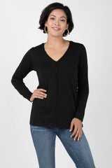 Womens Organic Cotton Shirt | Reversible V Neck Top | Black