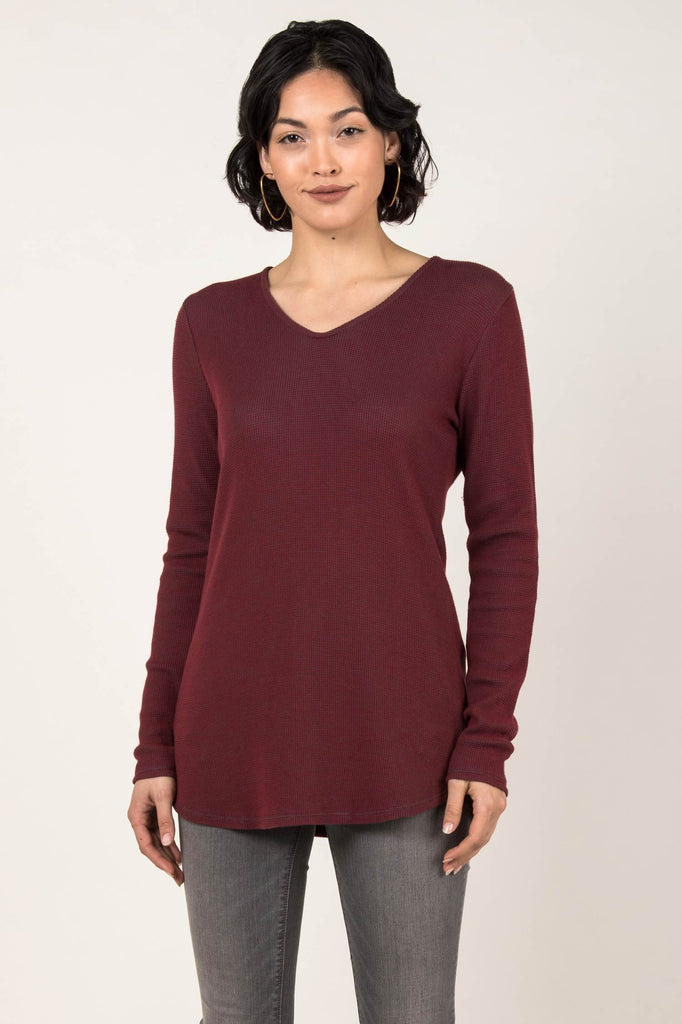 Womens Organic Cotton Top | Waffle Tie Back Pullover | Cherry Charcoal