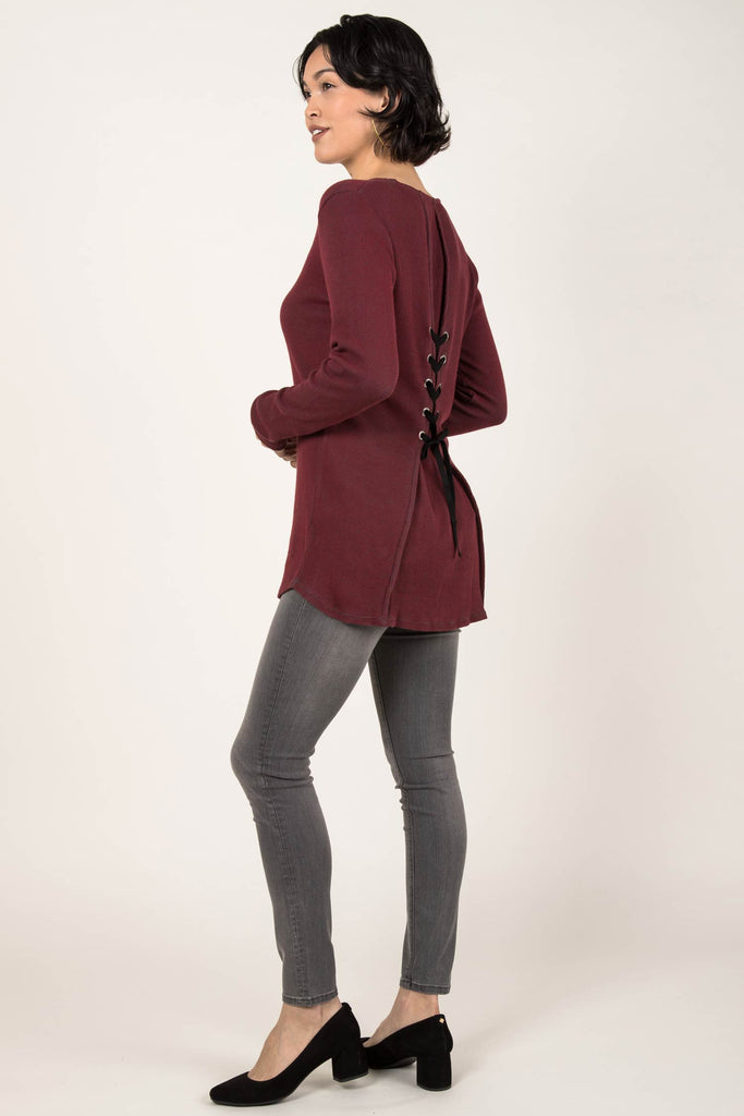 Womens Organic Cotton Top | Waffle Tie Back Pullover | Red