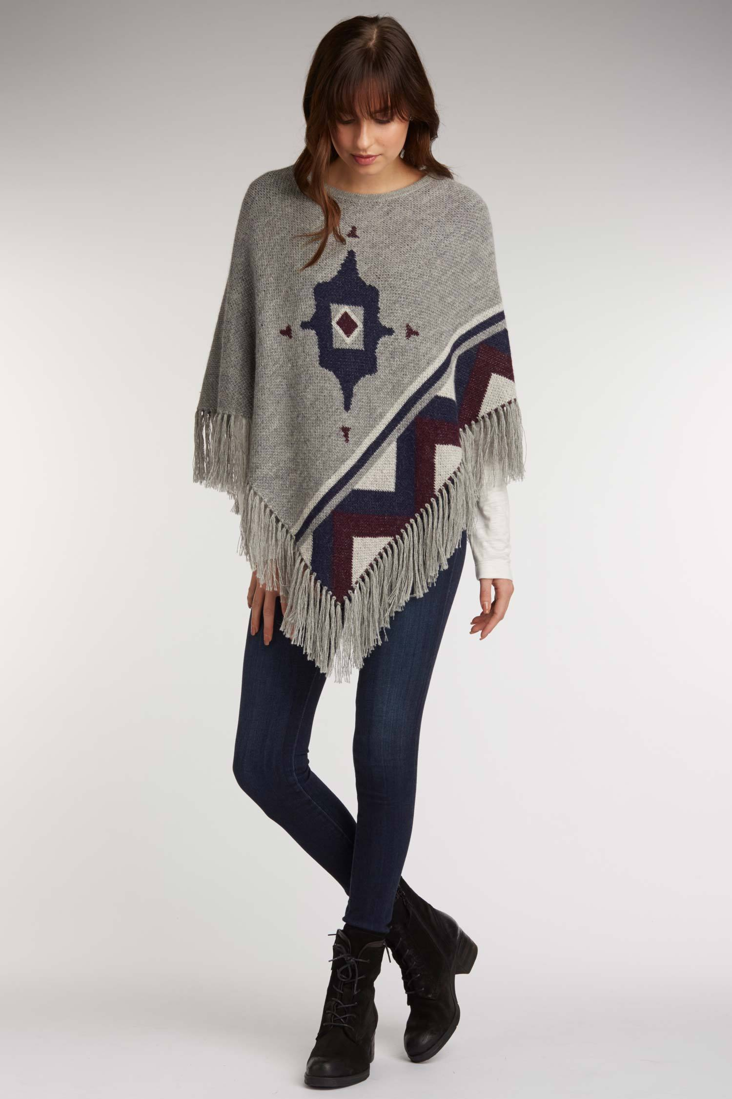 97934a3799bd Womens Gray Poncho Sweater