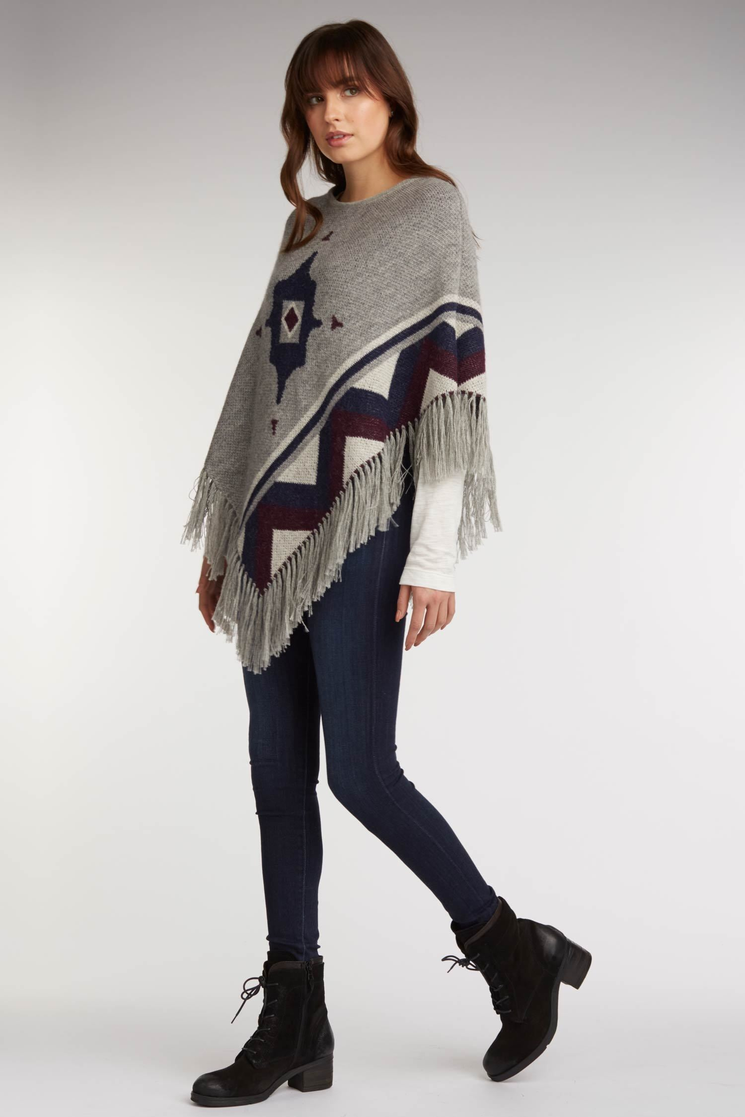womens poncho gray alpaca wool ponchos ethical fashion sustainable clothing