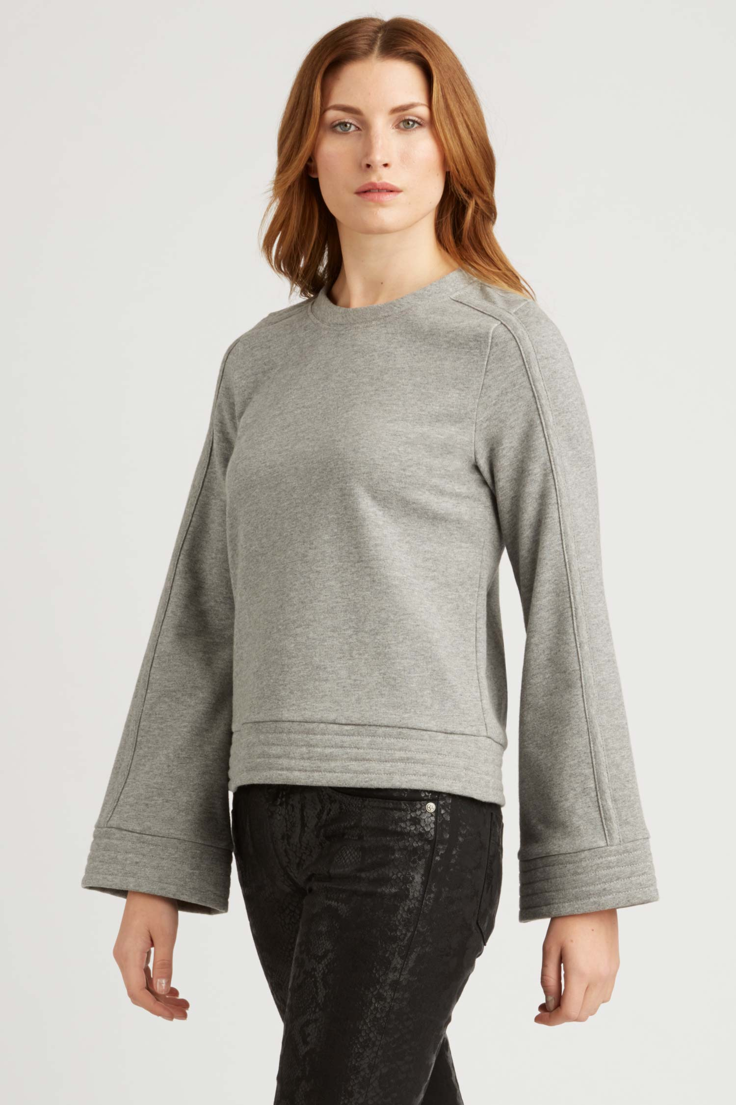 Womens Bell Sleeve Pullover Sweater in Gray Organic Cotton