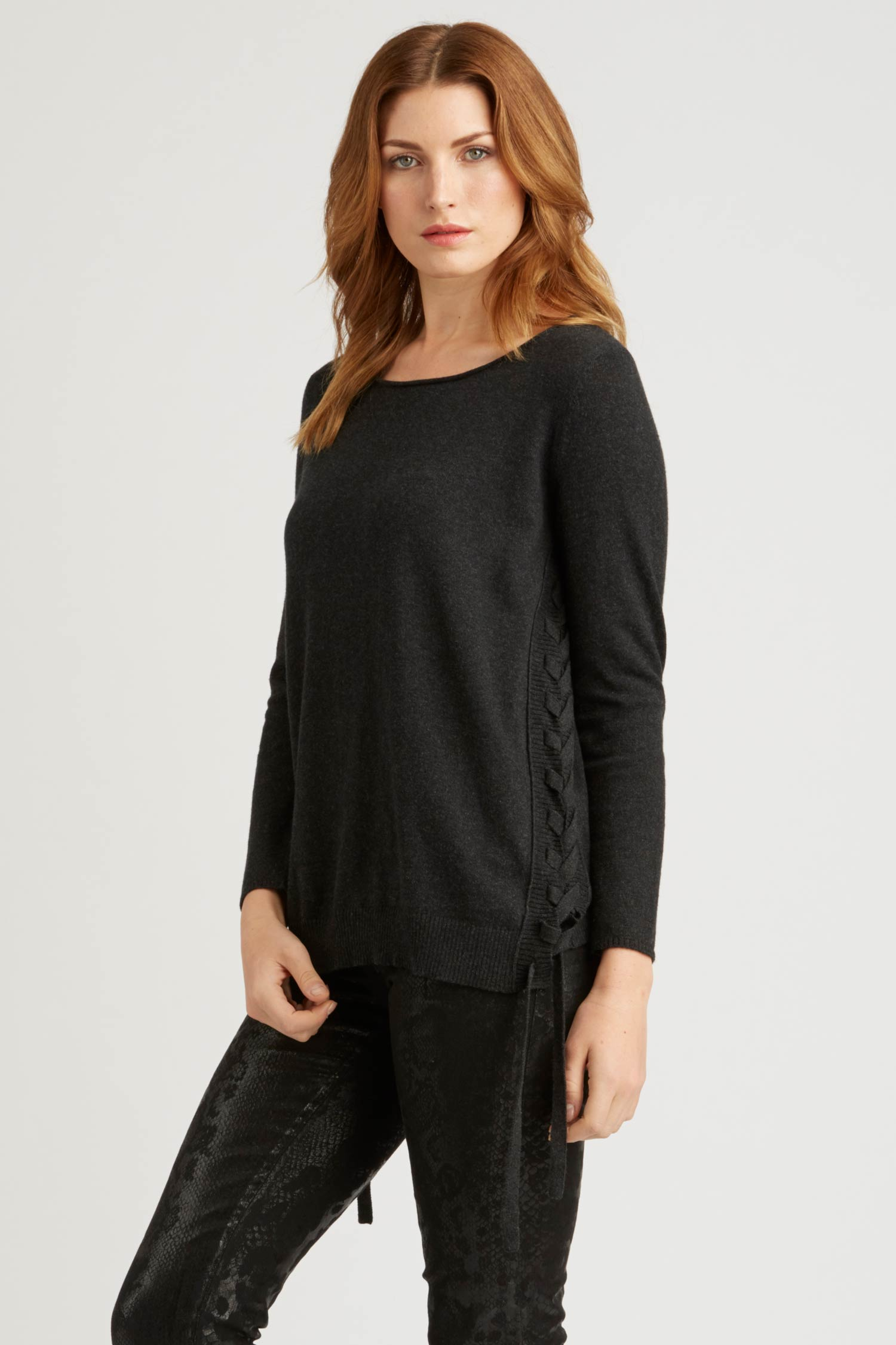 Womens Side Lace Up Pullover Sweater in Black | Organic Cotton Clothing