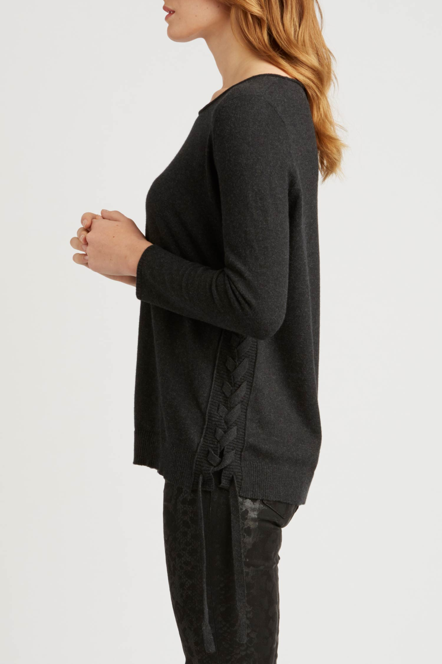 Womens Side Lace Up Pullover Sweater in Black | Slow Fashion Knit