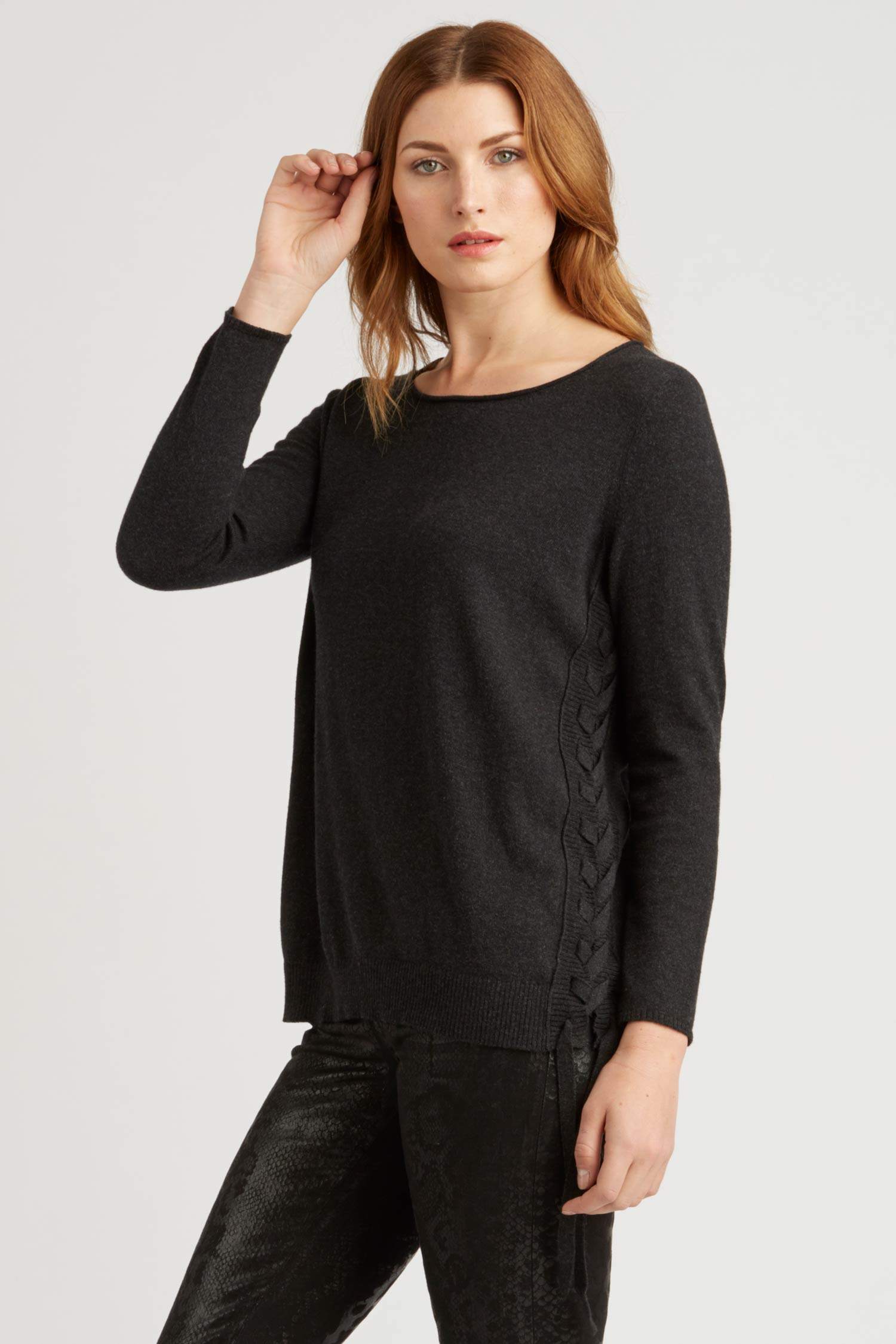 Womens Side Lace Up Pullover Sweater in Black | Sustainable Fashion