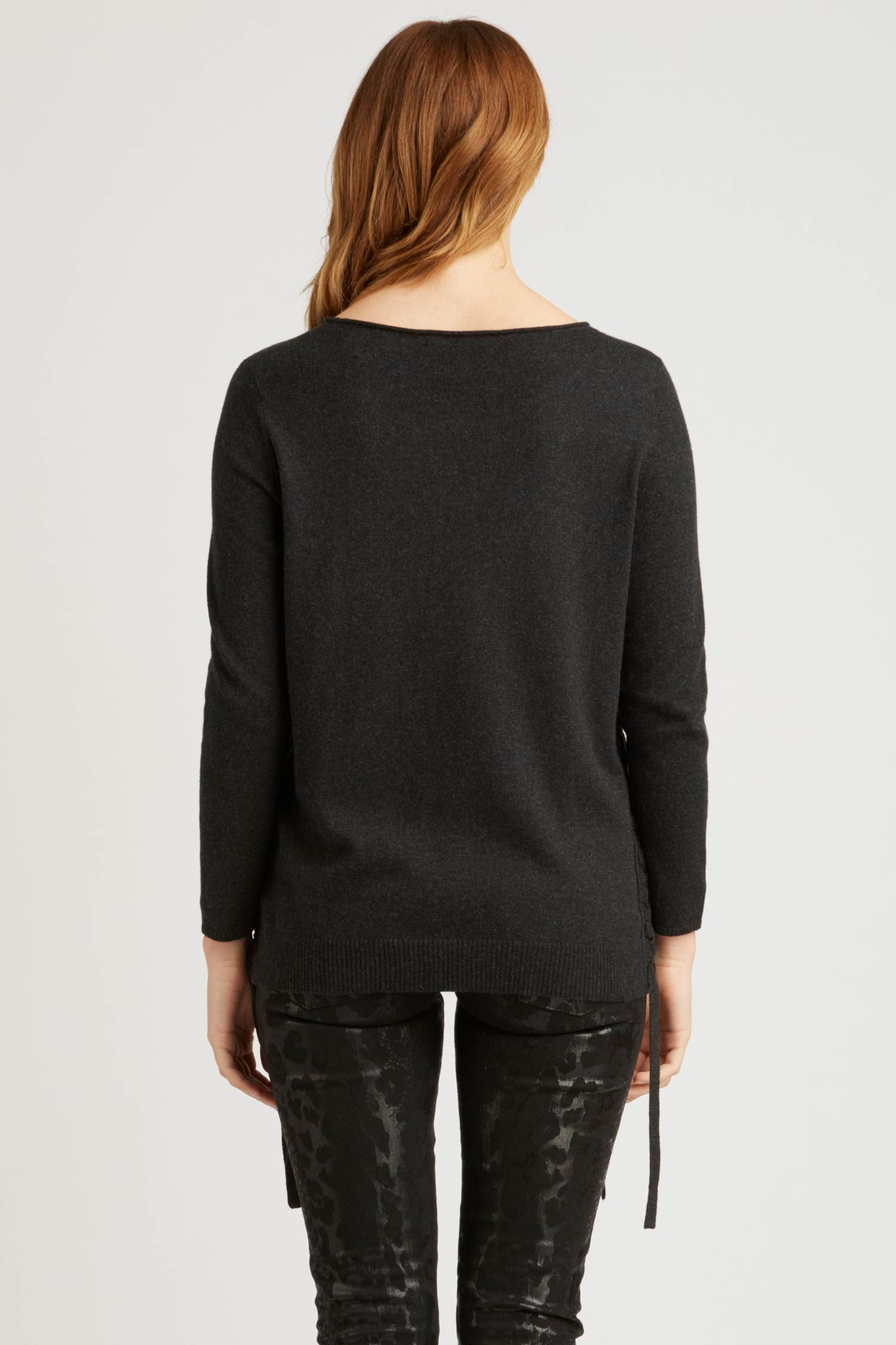 Womens Side Lace Up Pullover Sweater in Black | Fair Trade Fashion