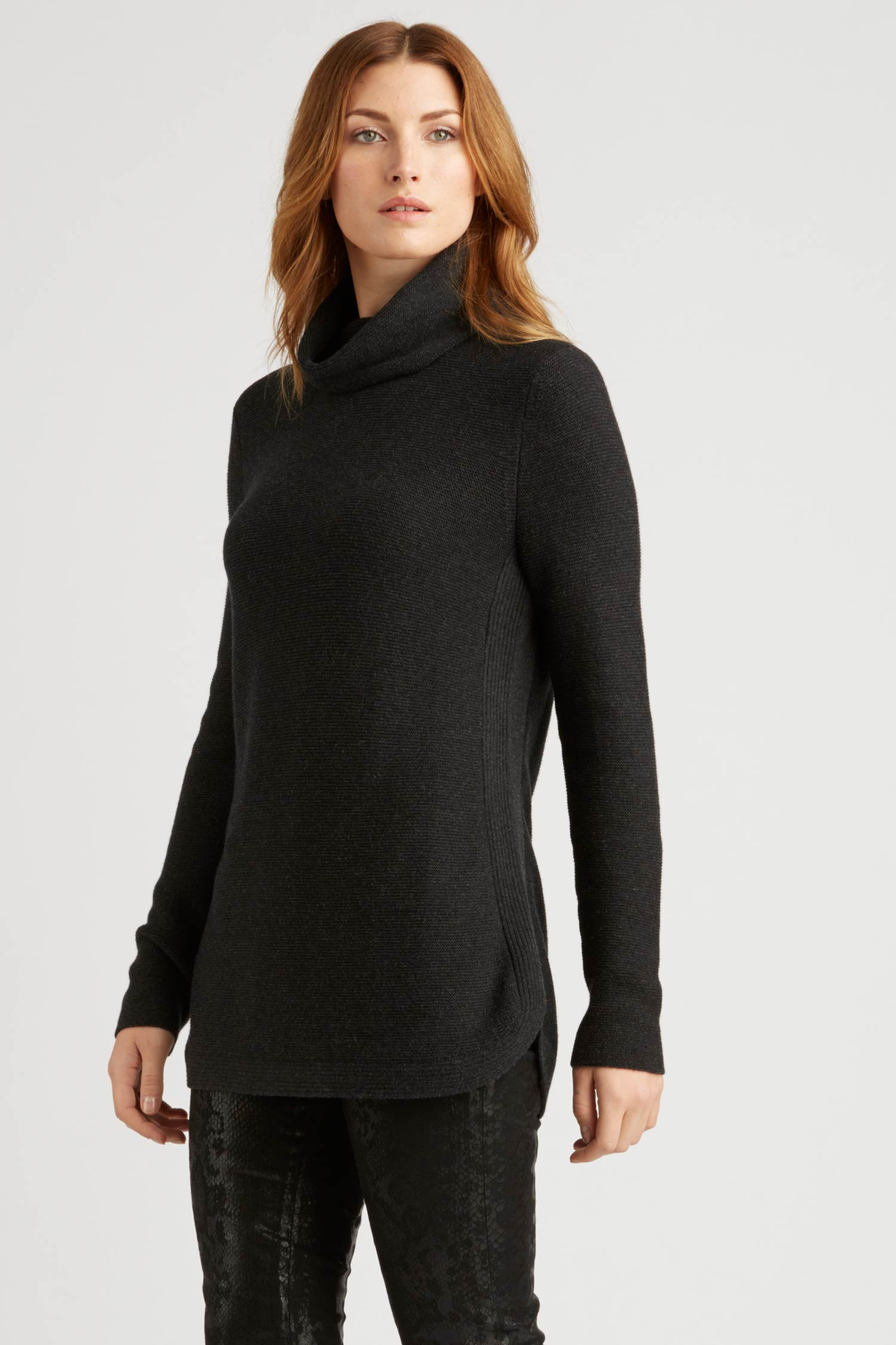Womens Funnel Neck Sweater | Organic Cotton Clothing | Black