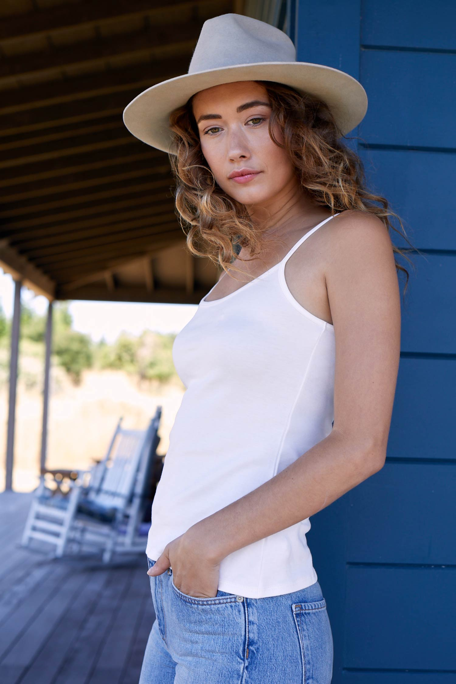 Womens Tank Top Camisole White | Organic Cotton Clothing Essentials