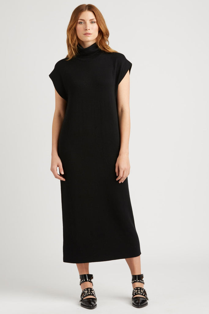 womens knit dress with cap sleeves and cowl neckline
