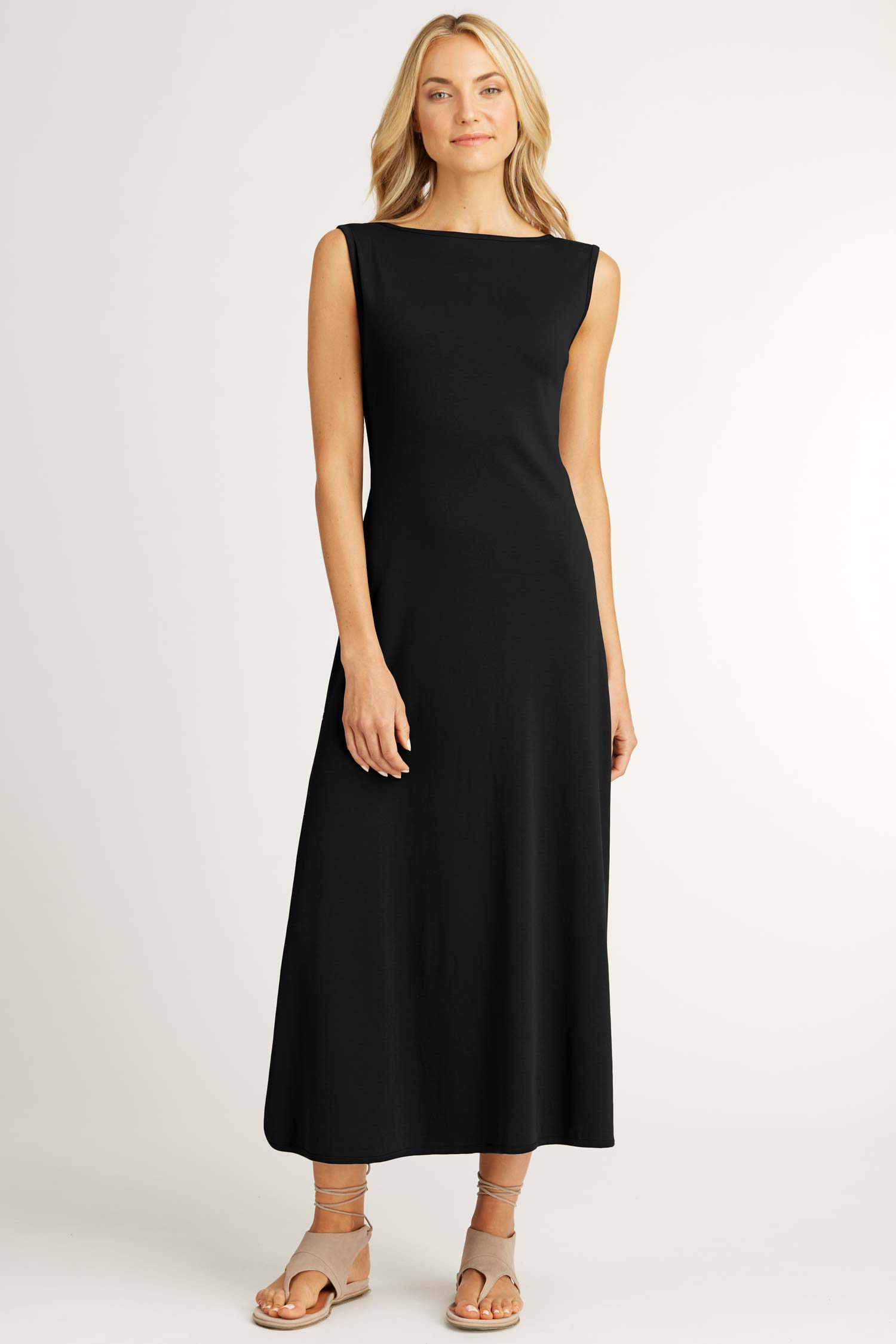Womens Boatneck Maxi Dress in Black | Slow Fashion