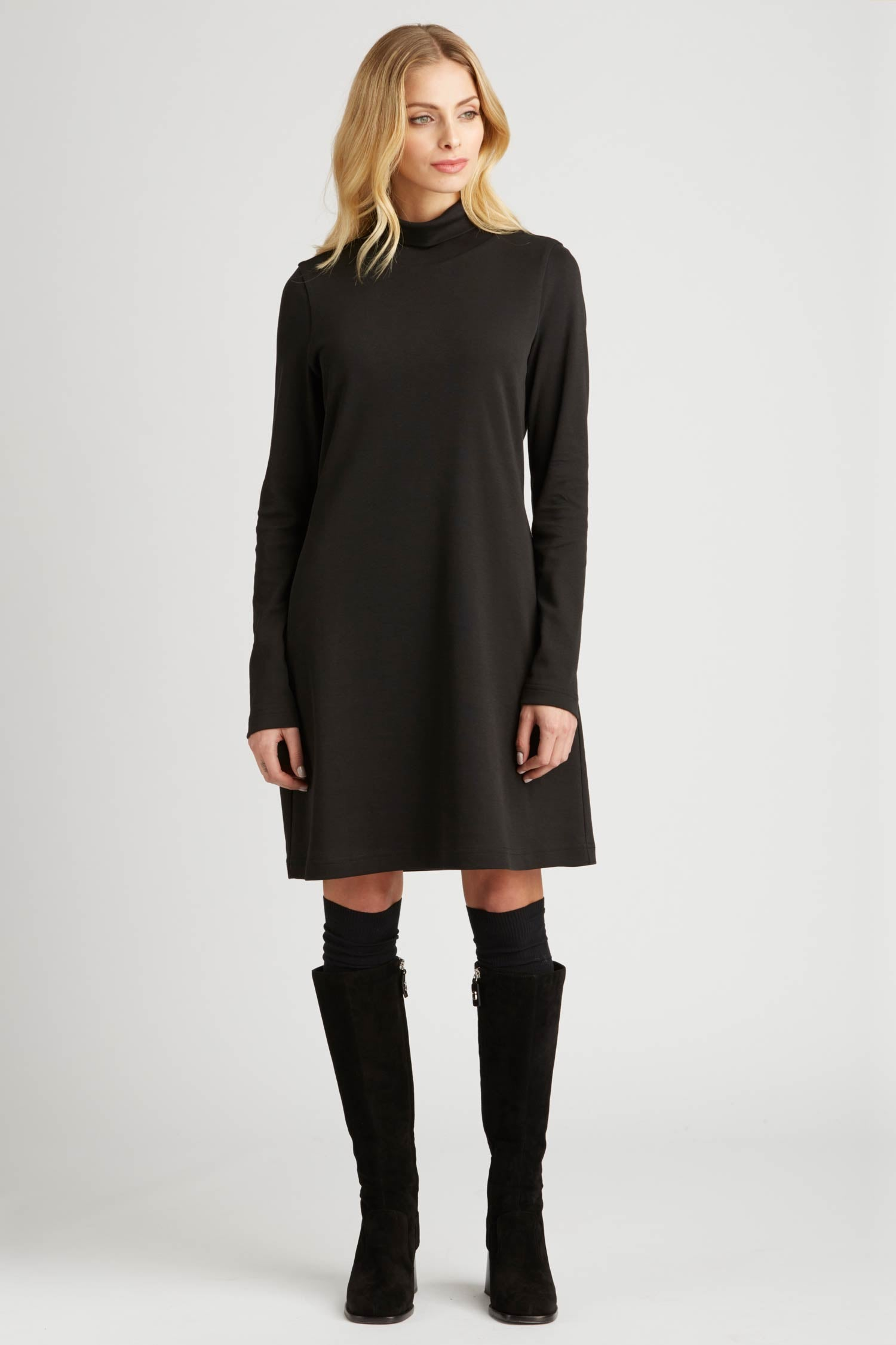Womens Turtleneck Dress in Black | Organic Cotton Clothing