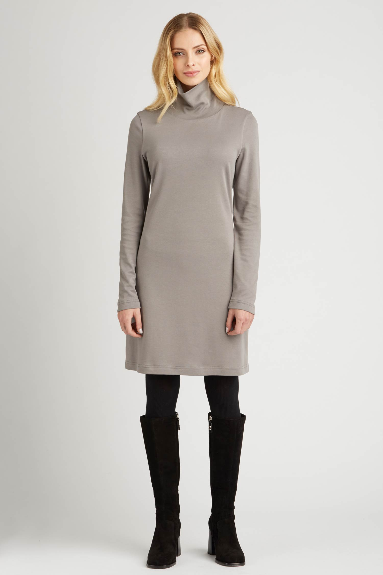 Womens Turtleneck Dress in Gray | Organic Cotton Clothing