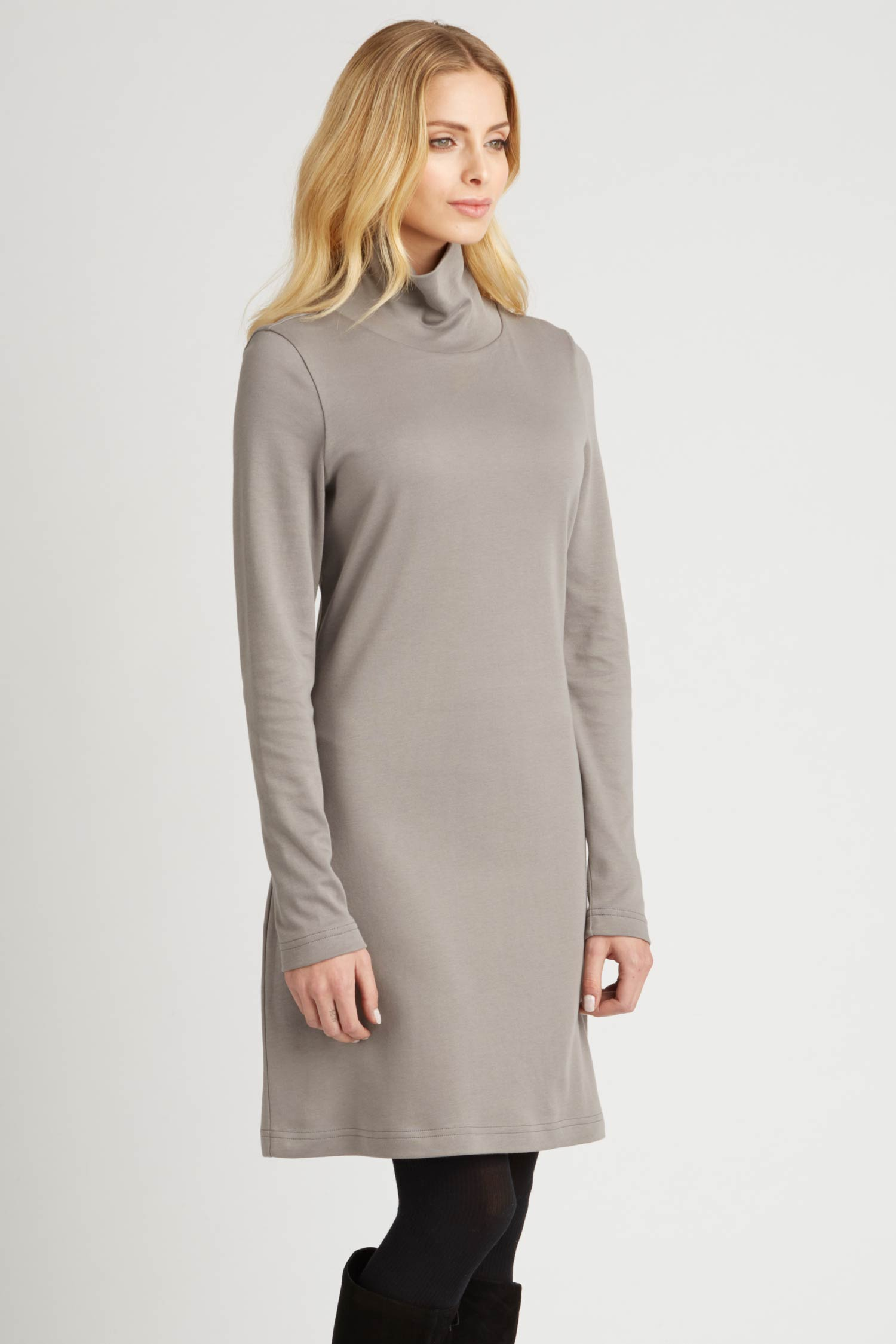 Womens Turtleneck Dress in Gray | Ethical Fashion