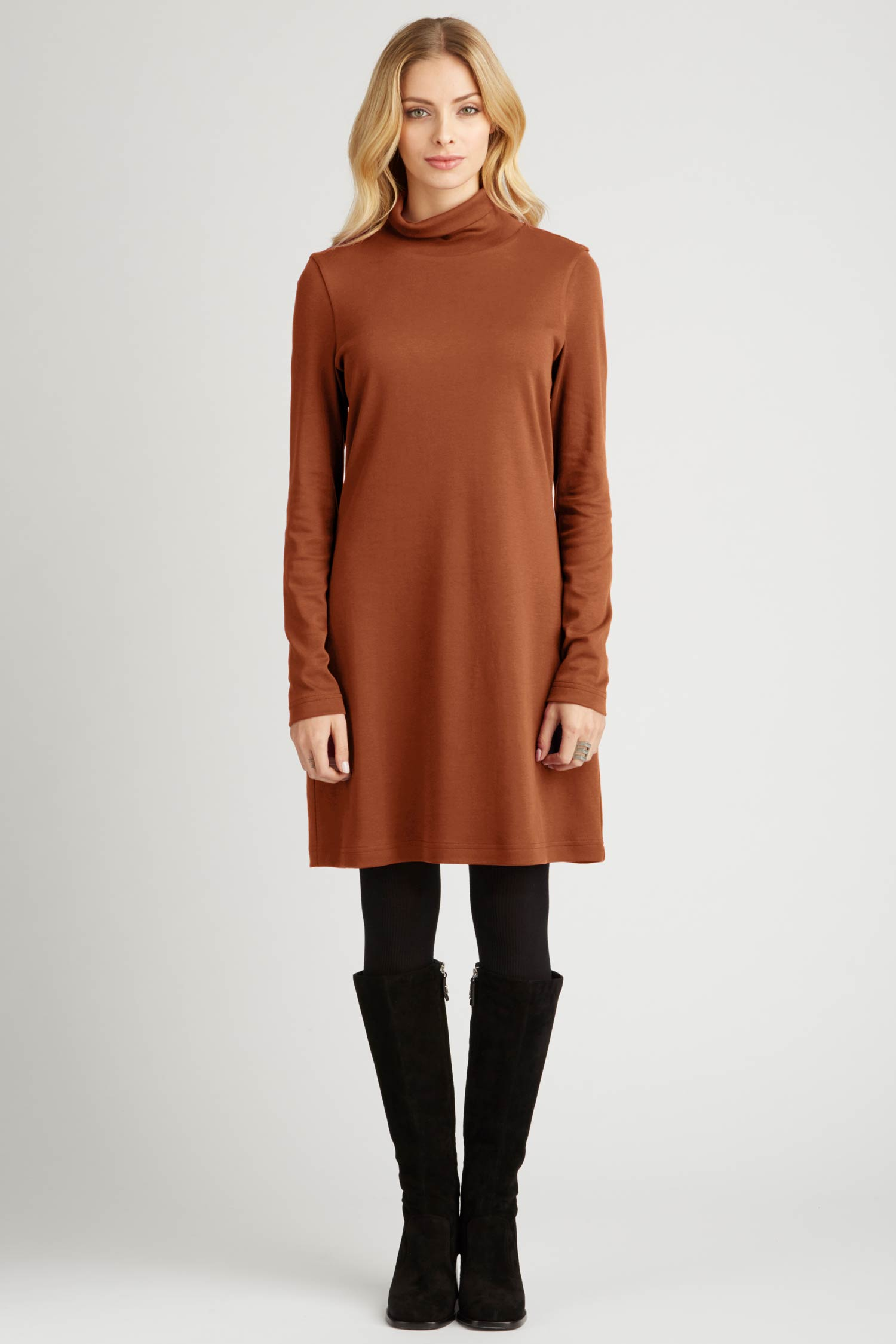 Womens Turtleneck Dress in Brown | Ethical Fashion